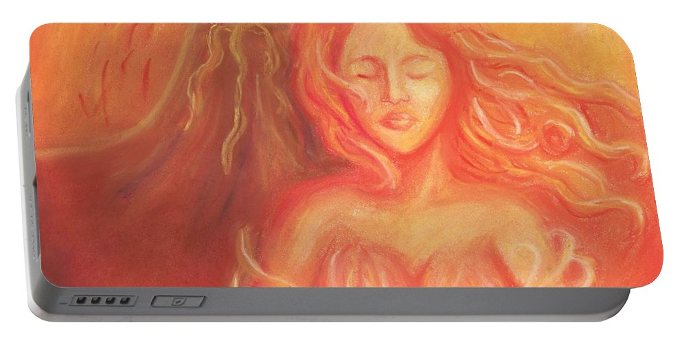 Goddess Portable Battery Charger featuring the painting Pele by Cassandra Geernaert