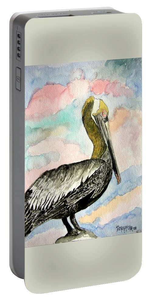 Watercolor Portable Battery Charger featuring the painting Pelican 2 by Derek Mccrea