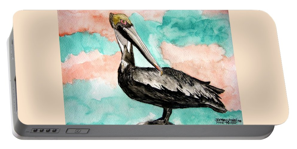 Bird Portable Battery Charger featuring the painting Pelican 3 by Derek Mccrea