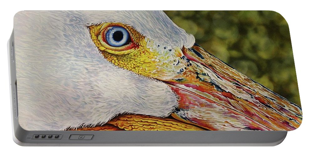 Pelican Portable Battery Charger featuring the painting Pelican by Greg and Linda Halom