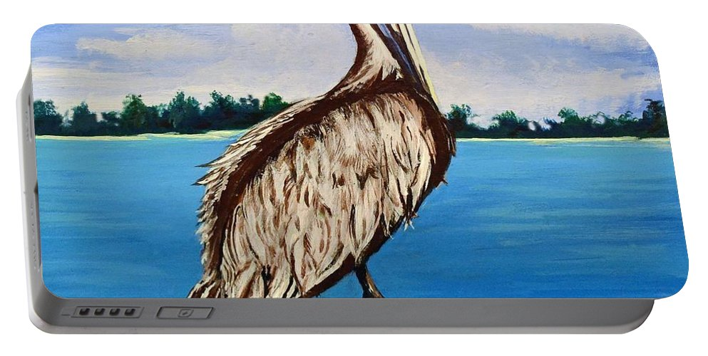 Louisiana Portable Battery Charger featuring the painting Pelican On Post 2 by Stephen Broussard