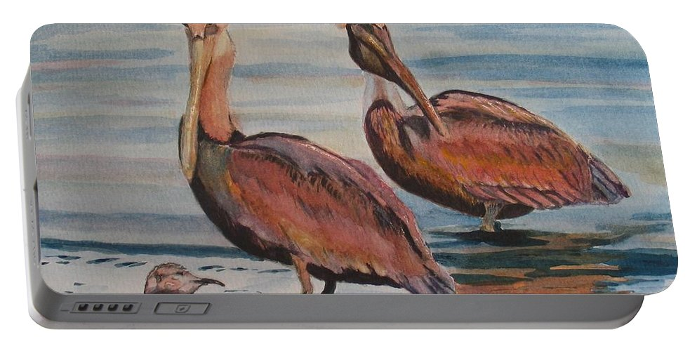 Pelicans Portable Battery Charger featuring the painting Pelican Party by Karen Ilari