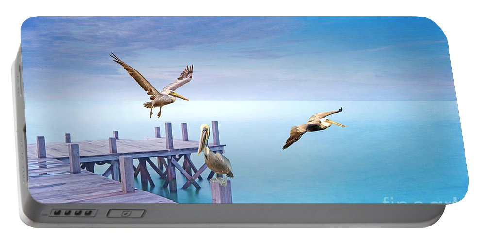 Brown Pelicans Portable Battery Charger featuring the photograph Pelican Party by Laura D Young