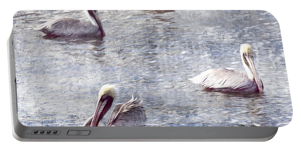Pelicans Portable Battery Charger featuring the photograph Pelicans At Rest by Lilliana Mendez