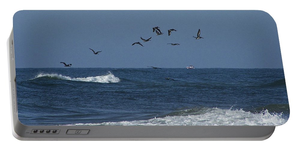 Pelicans Portable Battery Charger featuring the photograph Pelicans Over The Atlantic by Teresa Mucha