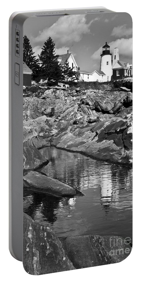 Pemaquid Point Lighthouse Portable Battery Charger featuring the photograph Pemaquid Point Lighthouse Maine Black And White by Glenn Gordon