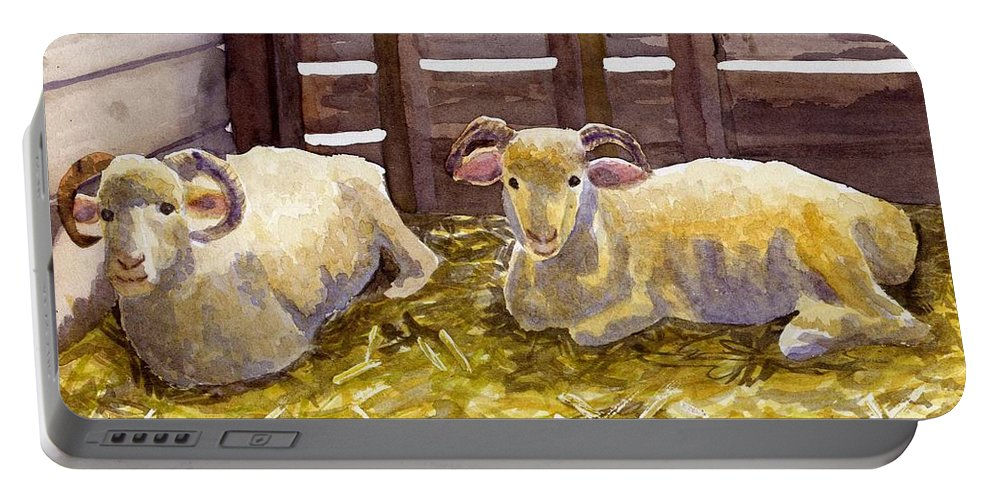 Sheep Portable Battery Charger featuring the painting Pen Pals by Sharon E Allen