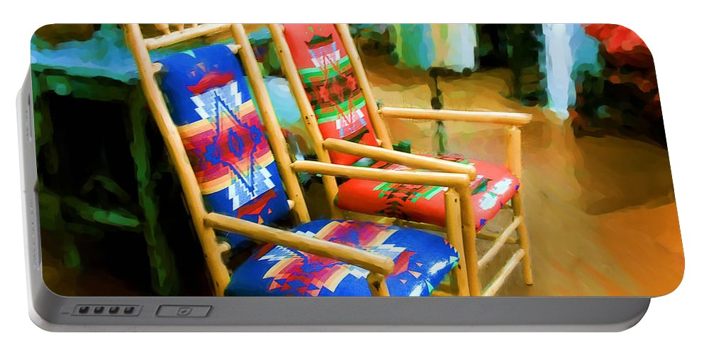 Pendleton Chairs Portable Battery Charger featuring the digital art Pendleton Chairs by Methune Hively