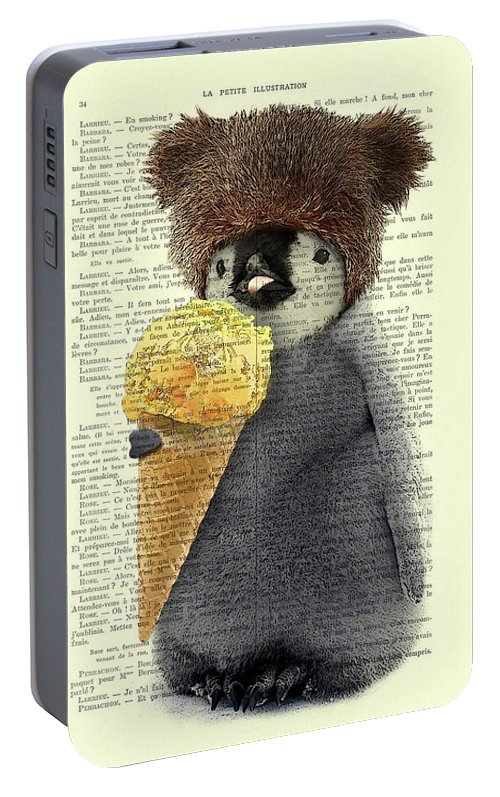 Penguin Portable Battery Charger featuring the digital art Penguin Ice Cream by Madame Memento