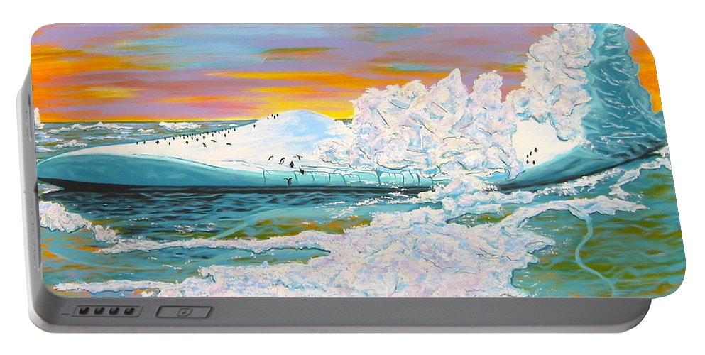 Iceberg Portable Battery Charger featuring the painting The Last Iceberg by V Boge