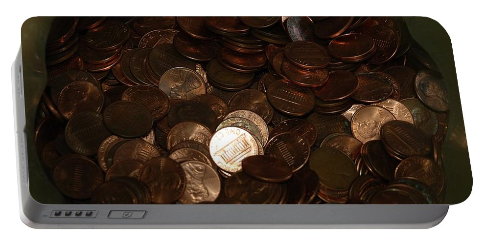 Pennies Portable Battery Charger featuring the photograph Pennies by Rob Hans