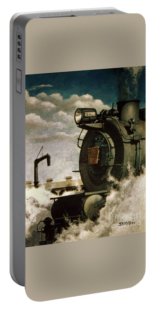 Pennsylvania Railroad Prr Train Painting Railroad Maryland And Pennsylvania Autumn Fall Colors Steam Engine Portable Battery Charger featuring the painting Pennsy M1 by David Mittner