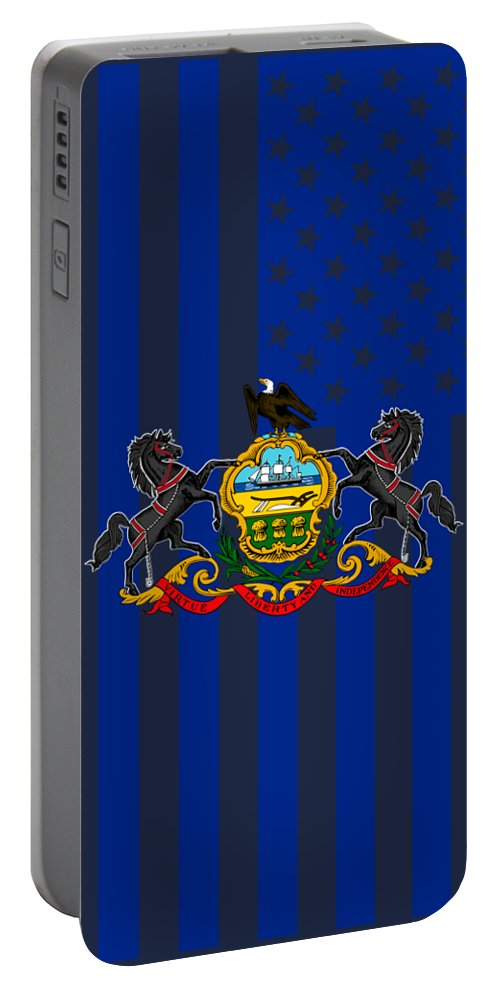 Pennsylvania Portable Battery Charger featuring the digital art Pennsylvania State Flag Graphic Usa Styling by Garaga Designs