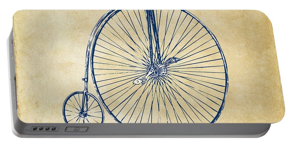 Penny-farthing Portable Battery Charger featuring the digital art Penny-farthing 1867 High Wheeler Bicycle Vintage by Nikki Marie Smith