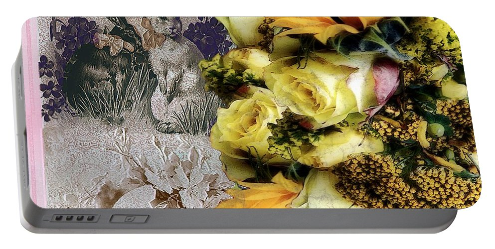 Bouquet Portable Battery Charger featuring the painting Penny Postcard Easter by RC DeWinter