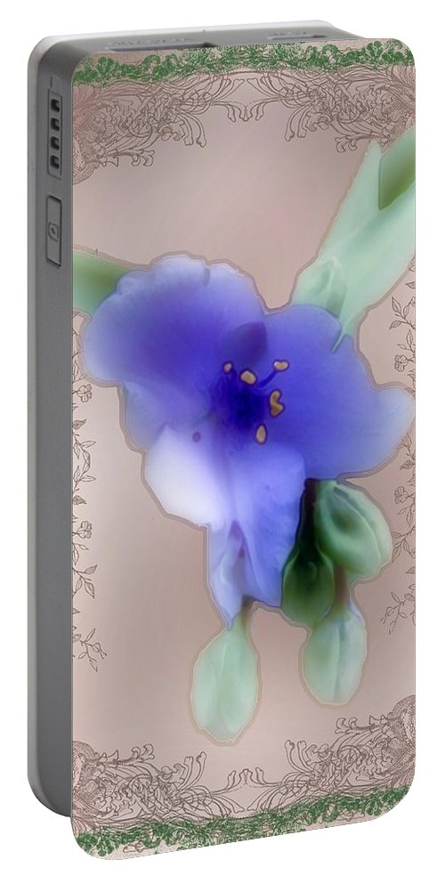 Blossoms Portable Battery Charger featuring the painting Penny Postcard Wildflower by RC DeWinter