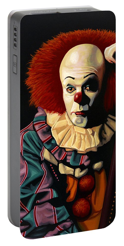 Pennywise Portable Battery Charger featuring the painting Pennywise by Paul Meijering