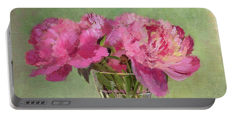 Still Portable Battery Charger featuring the painting Peonies In Tumbler by Keith Burgess
