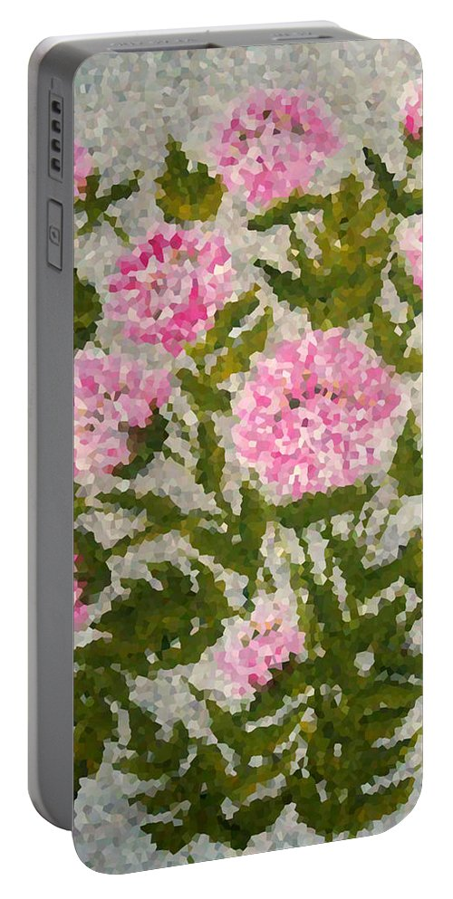 Digital Photo Portable Battery Charger featuring the digital art Peony Bush  by Barbara Griffin