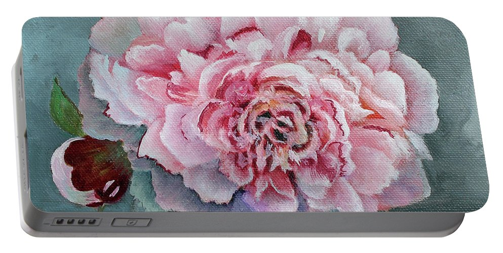 Peony Portable Battery Charger featuring the painting Peony Memories by Mary Hughes