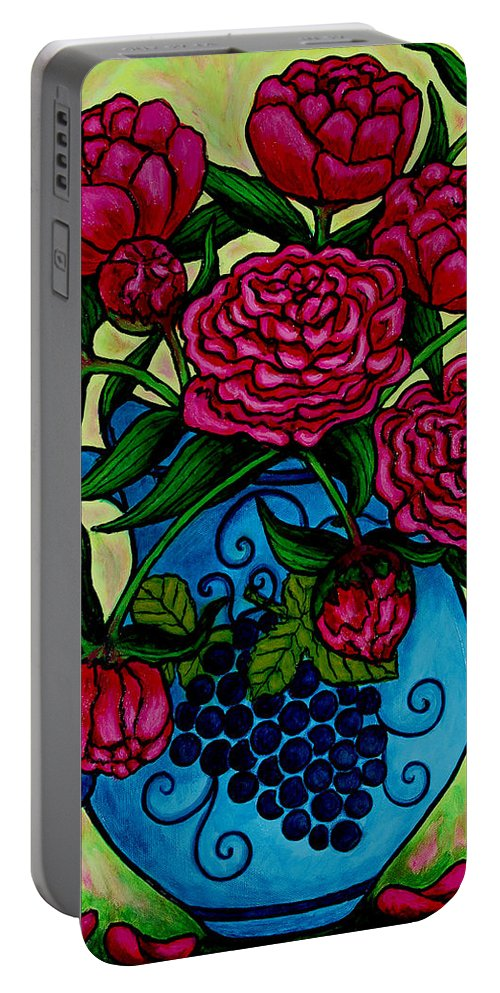 Peonies Portable Battery Charger featuring the painting Peony Party by Lisa Lorenz