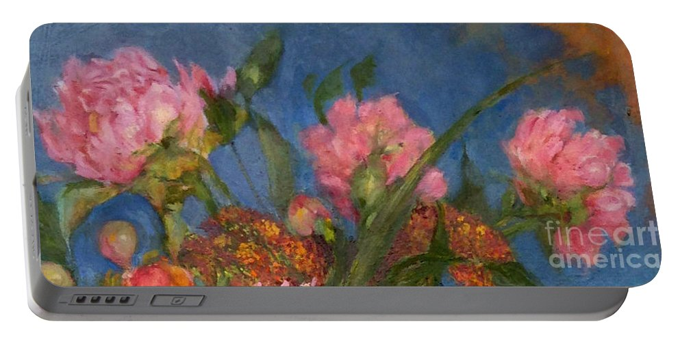 Pink Peonies In The Blue Sky Portable Battery Charger featuring the painting Peony Trio by Kathleen Hoekstra