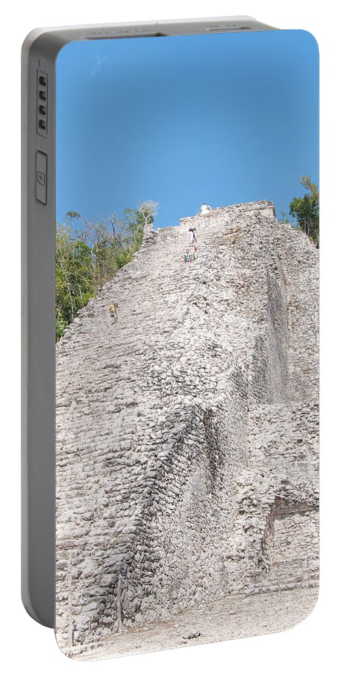 Mexico Quintana Roo Portable Battery Charger featuring the digital art People Climbing Nohoch Mul At The Coba Ruins by Carol Ailles