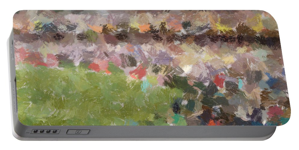Abstract Portable Battery Charger featuring the photograph People In A Stadium by Ashish Agarwal