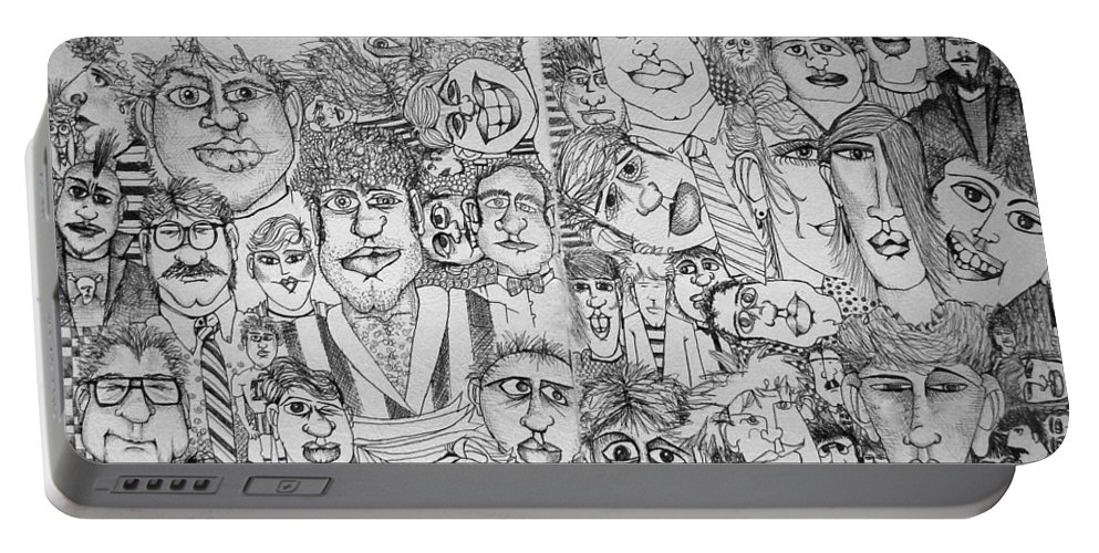 Faces Portable Battery Charger featuring the drawing People People People by Michelle Calkins