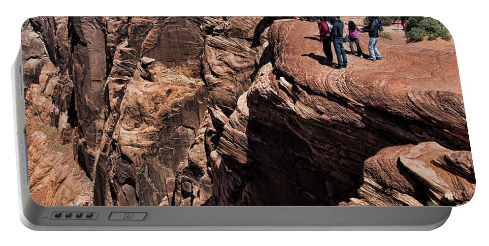Horseshoe Bend Portable Battery Charger featuring the photograph People View Horseshoe Bend Rock Edge by Chuck Kuhn