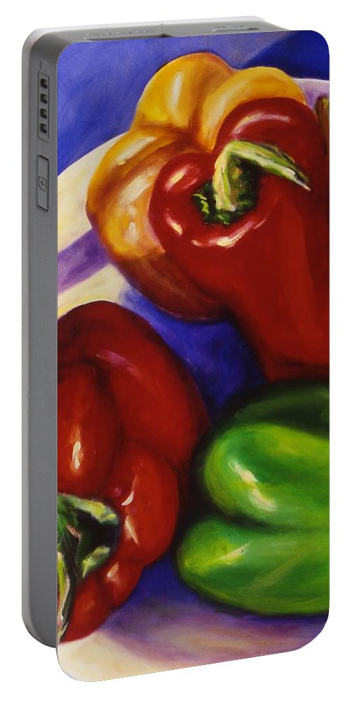 Still Life Peppers Portable Battery Charger featuring the painting Peppers In The Round by Shannon Grissom