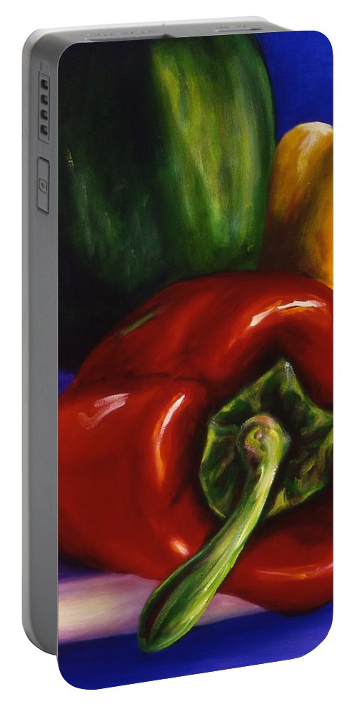 Still Life Portable Battery Charger featuring the painting Peppers On Peppers by Shannon Grissom