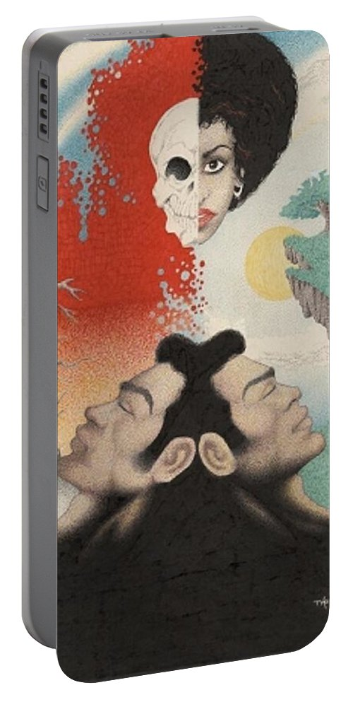 Surreal Portable Battery Charger featuring the drawing Perception Threshold by Jay Thomas II