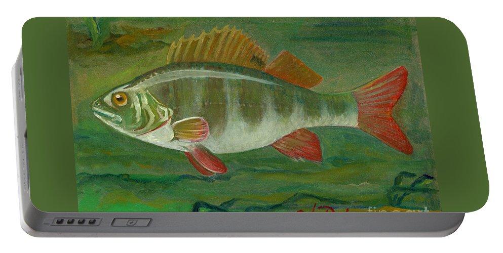 Folkartanna Portable Battery Charger featuring the painting Perch by Anna Folkartanna Maciejewska-Dyba