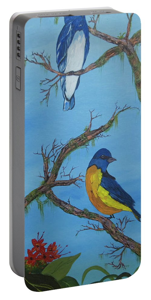 Perched Portable Battery Charger featuring the painting Perched 2 by Janiene Facey