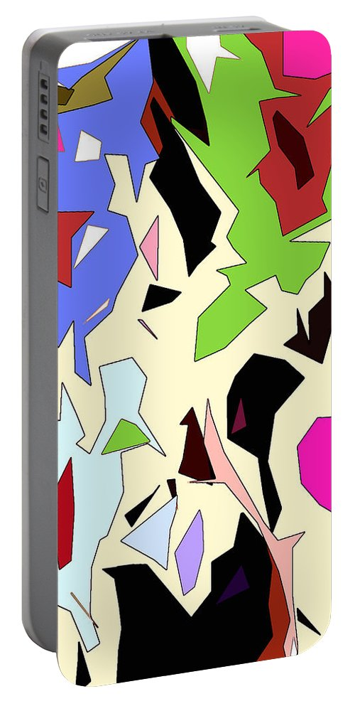 Abstract Portable Battery Charger featuring the digital art Perhaps Departure Panel Two Of Four by Linda Mears