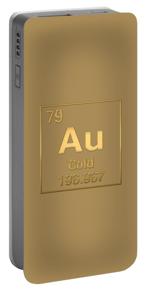 Periodic table of elements gold au gold on gold portable the elements collection by serge averbukh portable battery charger featuring the digital art periodic urtaz Image collections