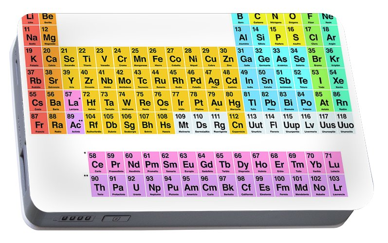 Periodic table of the elements spanish labeling portable battery periodic table portable battery charger featuring the digital art periodic table of the elements spanish labeling urtaz Images