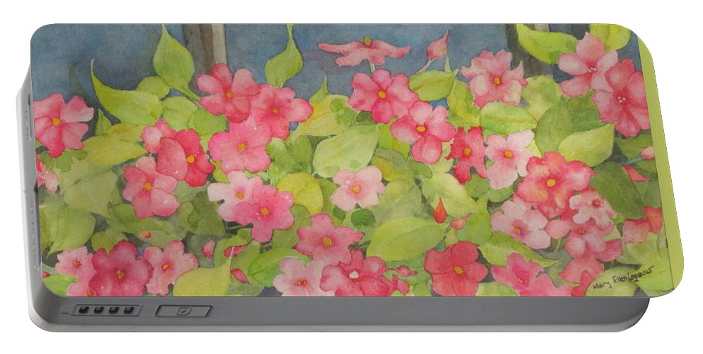 Flowers Portable Battery Charger featuring the painting Perky by Mary Ellen Mueller Legault