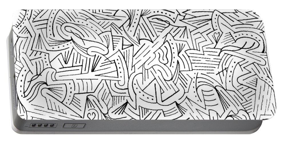 Mazes Portable Battery Charger featuring the drawing Perplex by Steven Natanson