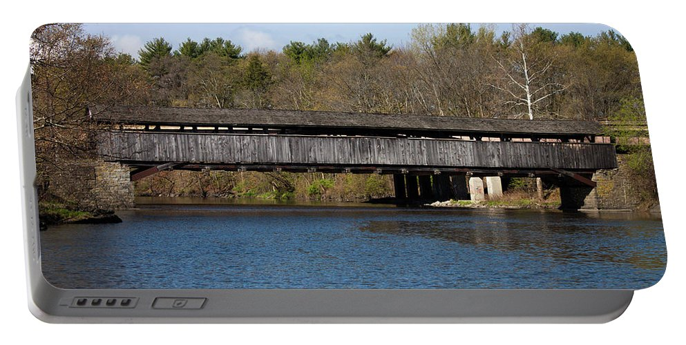 Covered Bridge Portable Battery Charger featuring the photograph Perrine's Bridge In Spring #2 by Jeff Severson