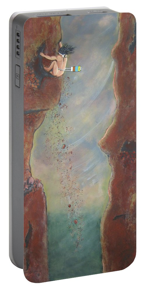 Nature Portable Battery Charger featuring the painting Perseverance by V Boge