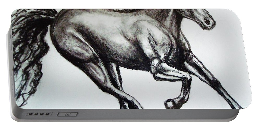 Horse Portable Battery Charger featuring the drawing Persistance by Elizabeth Robinette Tyndall