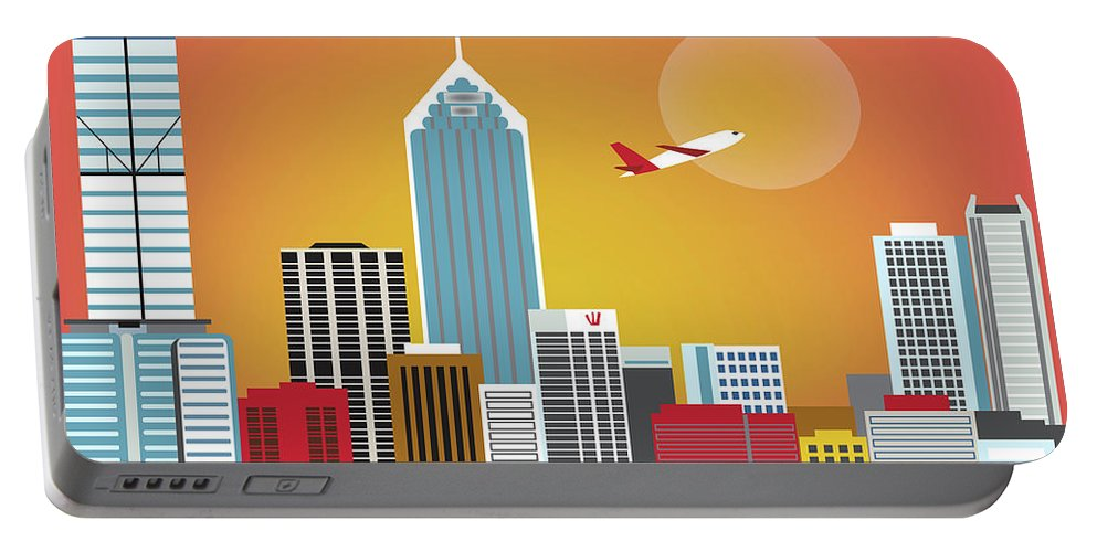 Perth Portable Battery Charger featuring the digital art Perth Western Australia Australia Horizontal Skyline by Karen Young