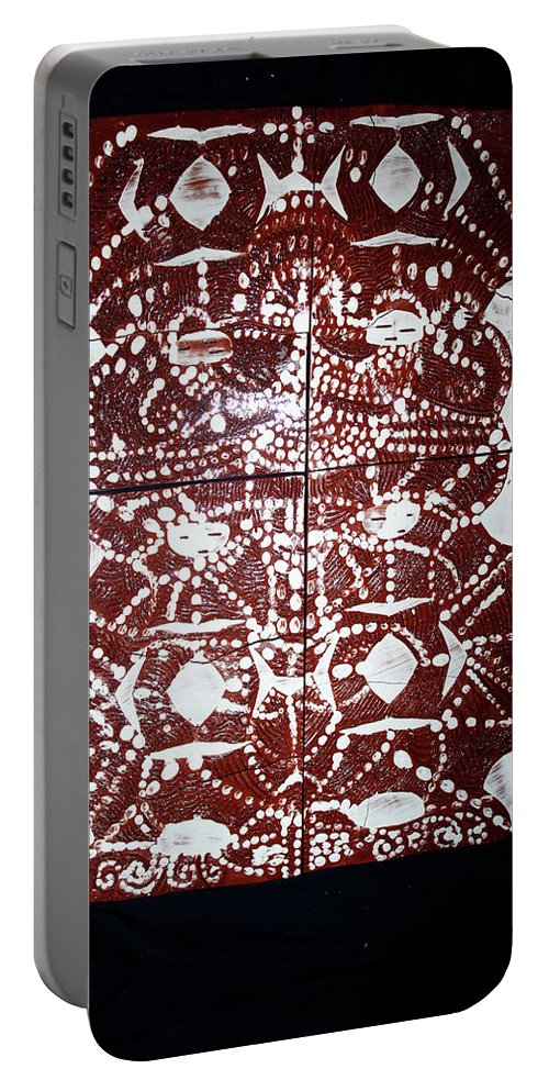 Jesus Elohimplaquesmamamama Africa Twojesus Portable Battery Charger featuring the ceramic art Peruser by Gloria Ssali