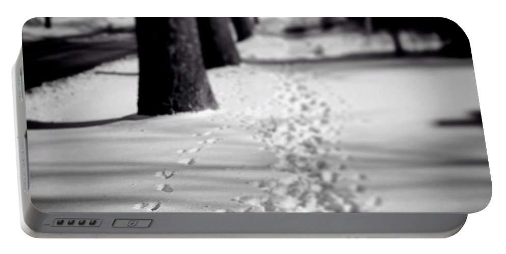 Frankjcasella Portable Battery Charger featuring the photograph Pet Prints In The Snow by Frank J Casella