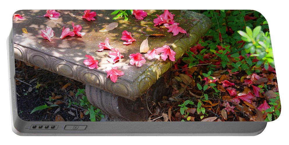 Photography Portable Battery Charger featuring the photograph Petals On A Bench by Susanne Van Hulst
