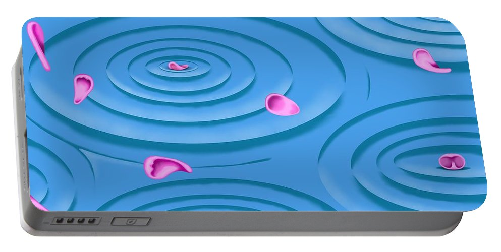 Surrealism Portable Battery Charger featuring the digital art Petals on Water I by Robert Morin