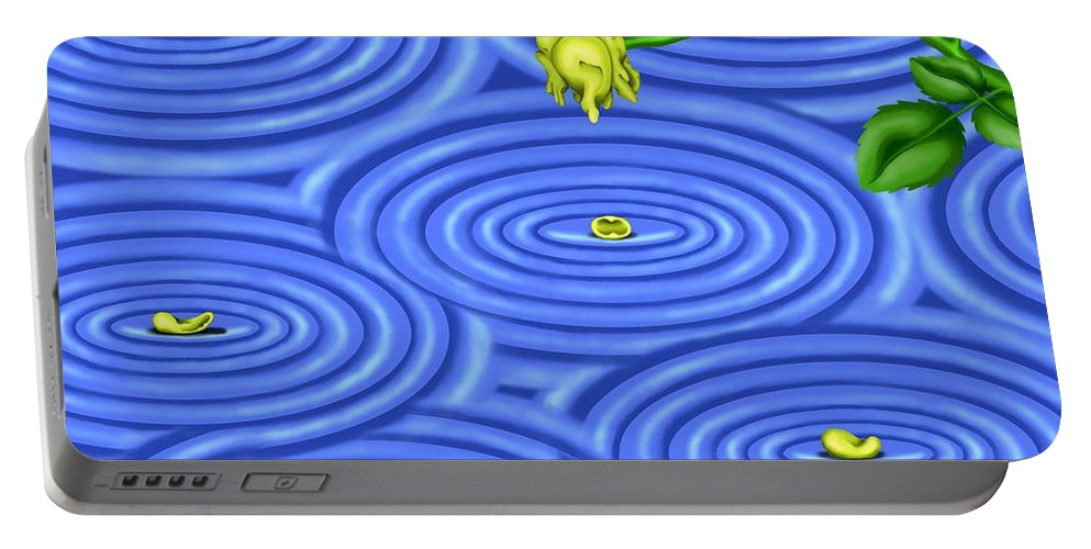 Surrealism Portable Battery Charger featuring the digital art Petals on Water III by Robert Morin