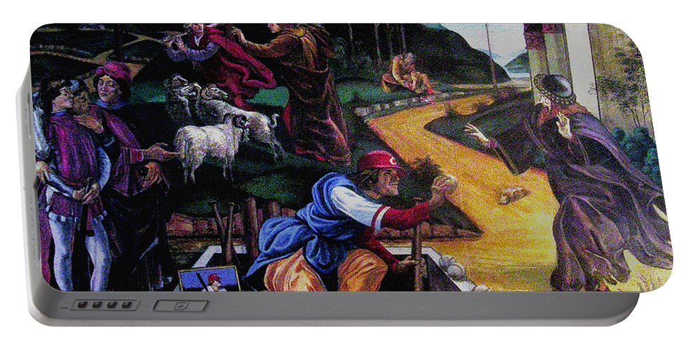 Pete Rose Portable Battery Charger featuring the painting Pete Rose In The Renaissance by Stan Esson